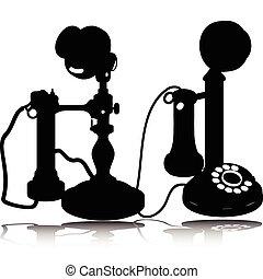 körvonal, vektor, öreg telefon