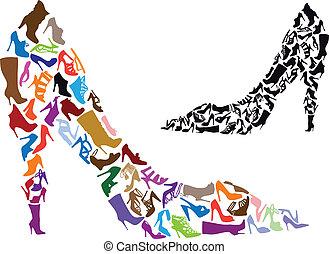 körvonal, vektor, cipő