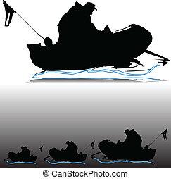 körvonal, vektor, csónakázik, ember