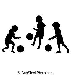 körvonal, vektor, futball, gyerekek