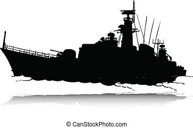 körvonal, vektor, háború, csónakázik