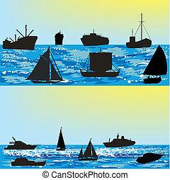 körvonal, vektor, hajó, tenger