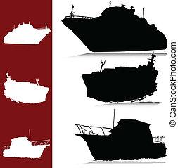 körvonal, vektor, jacht, csónakázik