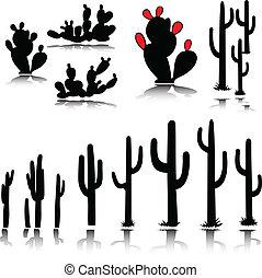 körvonal, vektor, kaktusz