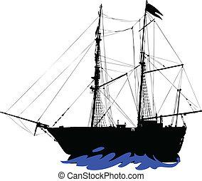 körvonal, vektor, kalózkodik, csónakázik
