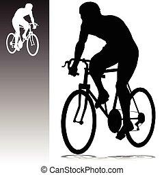 körvonal, vektor, kerékpározás, ember