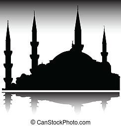 körvonal, vektor, mecset