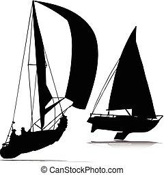körvonal, vektor, sport, csónakázik