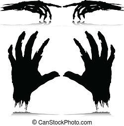 körvonal, vektor, szörny, kéz