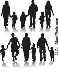 körvonal, vektor, szülők, gyerekek