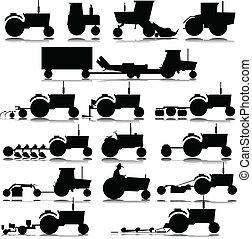 körvonal, vektor, traktor