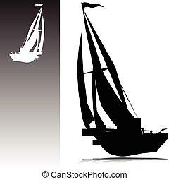 körvonal, vektor, vitorláshajó