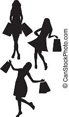 körvonal, woman bevásárol