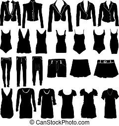 körvonal, womens, öltözet