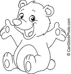 körvonalazott, boldog, hord, teddy-mackó