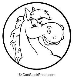 körvonalazott, boldog, ló, karikatúra