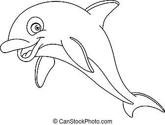 körvonalazott, delfin