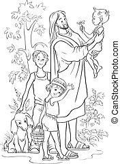 körvonalazott, jézus, gyerekek