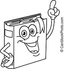 körvonalazott, könyv, karikatúra