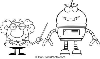 körvonalazott, robot, egyetemi tanár
