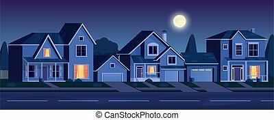 körzet, utca, épület, éjszaka, külváros