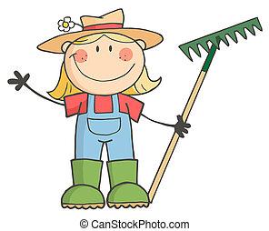 köszönés, leány, kertészkedés, hullámzás