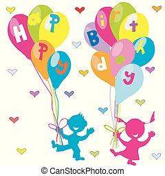 köszönés, születésnap, léggömb, gyerekek, kártya, boldog