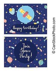 köszönés, születésnap, vektor, karikatúra, kártya, boldog