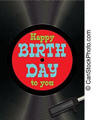 köszönés, születésnap, vinyl, sablon, kártya, boldog