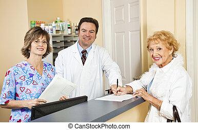 köszönt, orvos, bot, türelmes