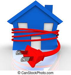 kötél, erő, épület, energia, fojtogatás, elektromos, otthon