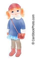kötött, mód, télikabát, szüret, vízfestmény, táska, hat., leány, clothing., girl's, style.