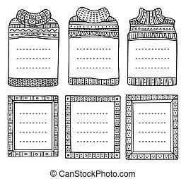 kötött, rectangular., tél, matrózblúzok, hand-drawn, keret, alakzat, gyűjtés