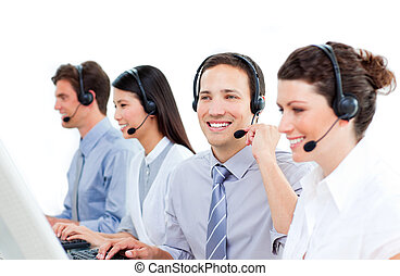 középcsatár, dolgozó, hívás, ügynökök, multi-ethnic, szolgáltatás, vásárló