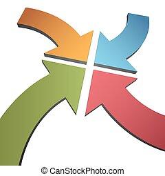 középcsatár, mutat, szín, ív, nyílvesszö, összetart, négy, 3