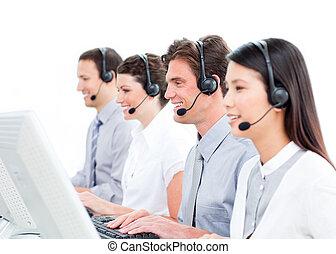 középcsatár, vidám, dolgozó, hívás, ügynökök, vevőszolgálat