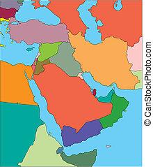 középkelet, editable, országok