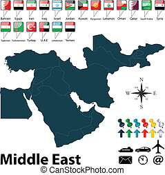 középkelet, politikai, térkép