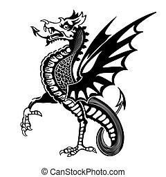 középkori, sárkány