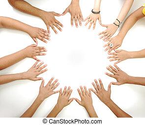 középső, másol világűr, gyártás, háttér, fogalmi, fehér, sok nemzetiségű, gyerekek, jelkép, karika, kézbesít