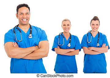 középső, orvos, idős, befog, orvosi