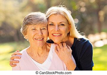 középső, senior woman, lány, idős