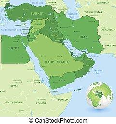 középső, vektor, zöld, kelet, térkép