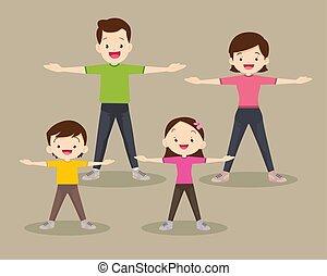 közönség, boldog, együtt, liget, család, gyakorlás