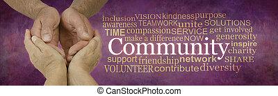 közösség, szó, kampány, careworker, felhő
