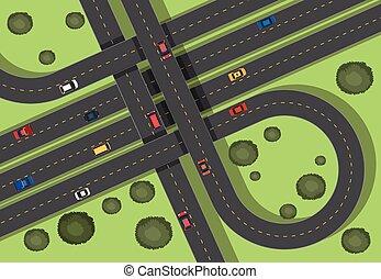 közútak, autók, antenna, színhely