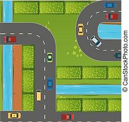 közútak, autók, tető kilátás
