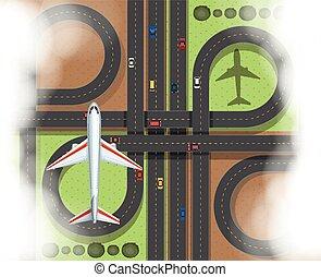 közútak, repülőgép, antenna, színhely