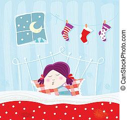 közben, éjszaka, alvás, karácsony, gyermek