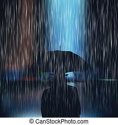 közben, sto, esernyő, ember